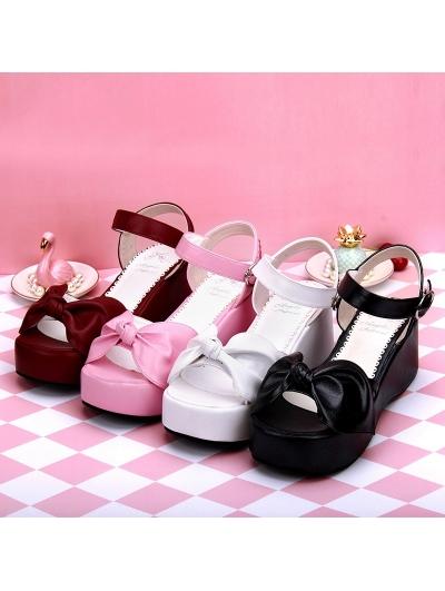 Black/White/Pink/Red Sweet Lolita Bow Platform Sandals