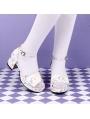 White/Purple Sweet Lolita Fairy Tale Pattern Mid Heel Sandals