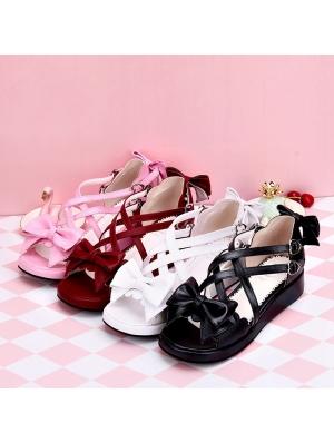Black/White/Pink/Red Sweet Lolita Bow Cross Belt Sandals