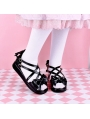 Black/White/Pink/Red Sweet Lolita Bow Cross Belt Sandals