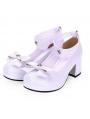 White/Black/Navy Blue Sweet Lolita Bow Pentagram Mid Heel Shoes