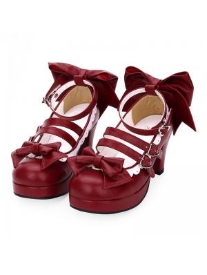Red/Blue/Navy Blue/Pink/Black/White Sweet Lolita Bow Belt Mid Heel Shoes
