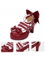 Red/Blue/Navy Blue/Pink/Black/White Sweet Lolita Bow Belt Mid Heel Shoes