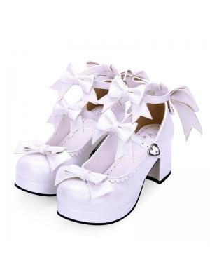 White/Black Sweet Lolita Bow Belt Mid Heel Shoes