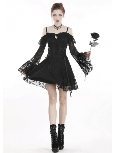 Black Sweet Gothic Off-the-Shoulder Lace Short Dress