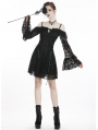 Black Sweet Gothic Off-the-Shoulder Lace Short Dress