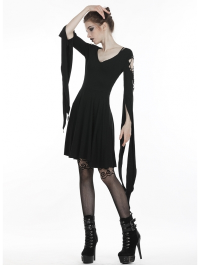 Black Gothic Punk Short dress with Long Trumpet Hooked Sleeves