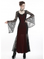 Wine Red and Black Gothic Elegant Velvet Lace Long Dress
