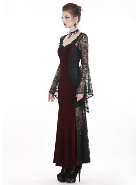 evening elegant Black velvet gothic maxi dress