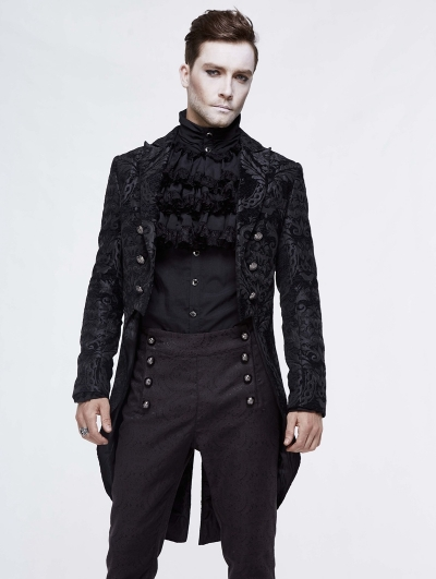 Black Vintage Gothic Double Breasted Tail Coat for Men