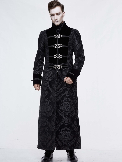 Black Vintage Gothic Victorian Long Coat for Men