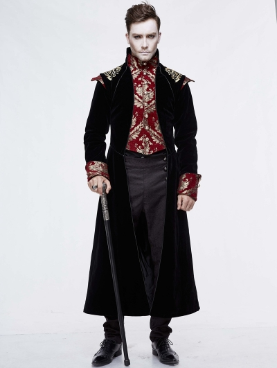 Black Vintage Gothic Victorian Masquerade Long Tail Coat for Men