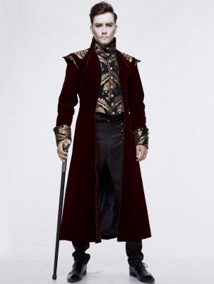 Red Vintage Gothic Victorian Masquerade Long Tail Coat for Men