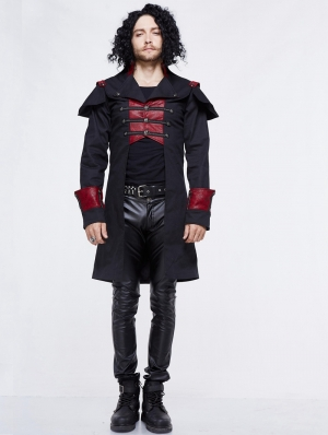 Black and Red Gothic Military Cape Jacket for Men