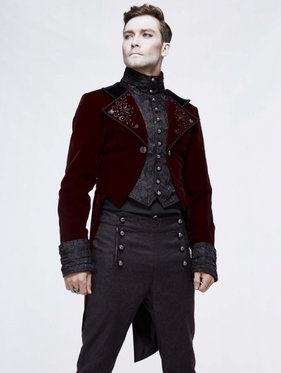 Red Vintage Gothic Masquerade Party Tail Coat for Men