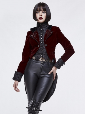 Red Vintage Gothic Masquerade Party Tail Coat for Women