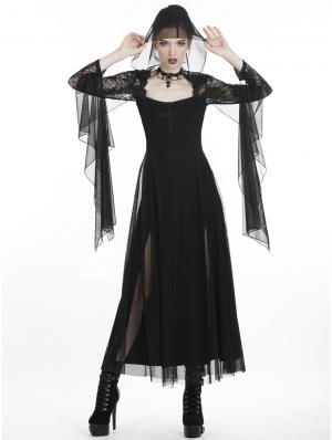 Black Gothic Cross Pattern Hooded Long Dress