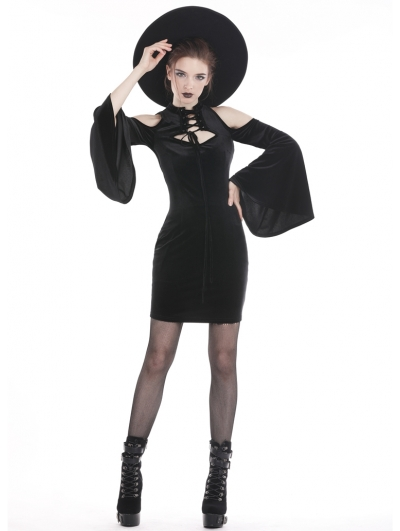 Black Gothic Velvet Off-the-Shoulder Sexy Short Dress