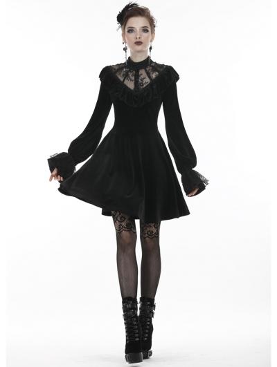 Black Gothic Lolita Long Sleeve Velvet Short Dress