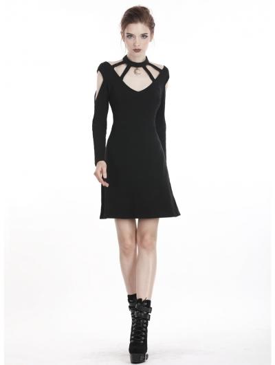 Black Gothic Punk Moon Pendant Daily Short Dress