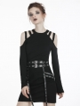 Black Gothic Punk Long Net Sleeve Daily T-Shirt for Women