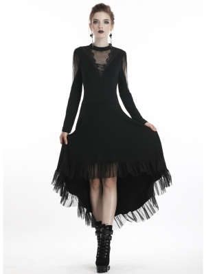 Black Romantic Gothic Long Sleeve High-Low Dress