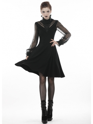 Black Gothic Mesh Sleeve Casual Short A-Line Dress