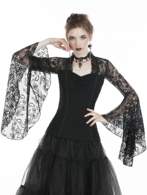 Black Gothic Lace Long Sleeves T-Shirt for Women