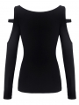 Black Gothic Punk Daily Long Sleeves T-Shirt for Women