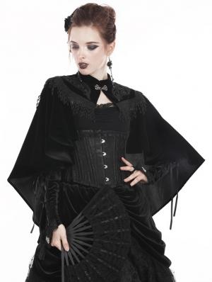 Black Gothic Vintage Velvet Tasseled Cape for Women