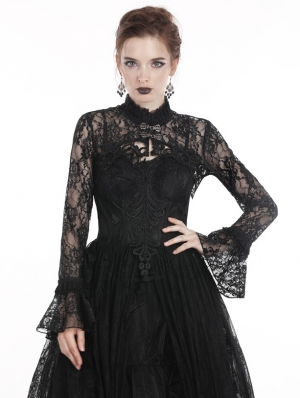 Black Gothic Lace Long Sleeve Short Cape for Women