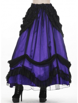 Purple and Black Gothic Lace Mesh Satin Long Skirt