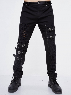 Black Gothic Punk Hole Long Jeans for Men