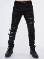 Black Gothic Punk Hole Long Jeans for Men