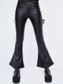 Black Gothic Punk Faux Leather Flared Trousers for Women
