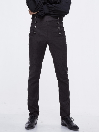 Black Vintage Gothic High Waist Party Long Trousers for Men