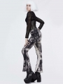 Fashion Gothic Punk Pocket Long Flared Trousers for Women