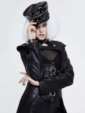 Black Gothic Punk Rivet Faux Leather Hat for Women
