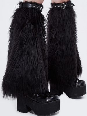 Black Gothic Winter Faux Fur Leg Cuffs for Women