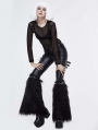 Black Gothic Winter Faux Fur Leg Cuffs for Women