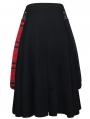 Black Gothic Punk Belt Half Plaid Skirt