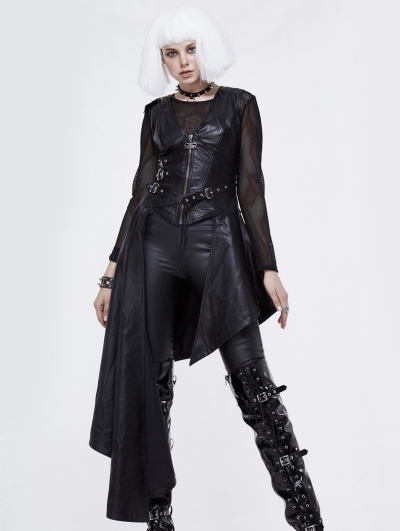 Black Gothic Punk PU Leather Long Asymmetric Waistcoat for Women