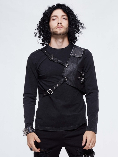 Black Gothic Punk Long Sleeve T-Shirt for Men