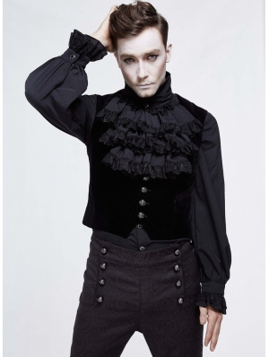 Black Simple Gothic Velvet Underbust Vest for Men