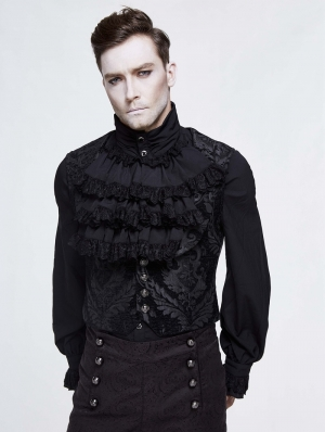 Black Vintage Gothic Victorian Underbust Vest for Men