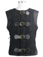 Black Gothic Punk Buckle Belt Vest Top for Men