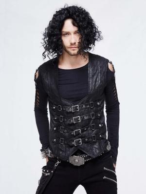 Black Gothic Punk Buckle Belt Waistcoat for Men