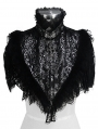 Sliver and Black Vintage Gothic Lace Short Shawl for Women