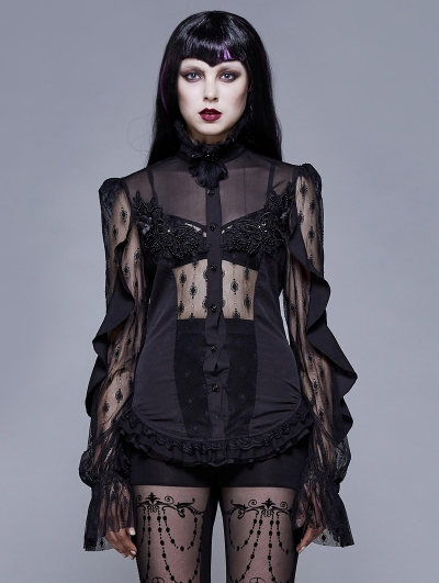 Gothic Sexy Lace Beading Long Sleeve Blouse for Women