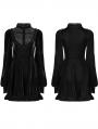 Black Fashion Street Gothic Velvet Long Sleeve Sweet Short Dress